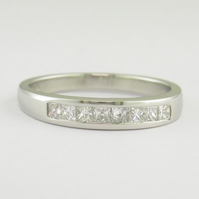 Diamond Rings Platinum Eternity Ring Channel Set with 8 Princess Cut Diamonds