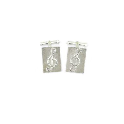 Gents Jewellery Sterling Silver Treble Clef Cufflinks