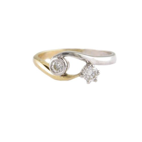 Diamond Rings 9ct. White & Yellow Gold Diamond Ring