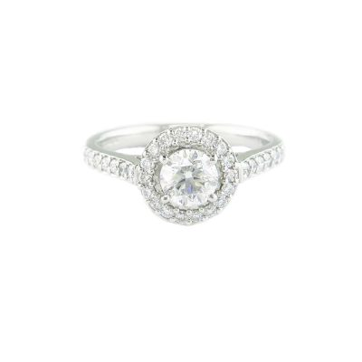 Diamond Rings Platinum Halo Cluster Ring