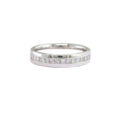 Diamond Rings 18ct. White Gold Ring Channel set with Princess cut Diamonds