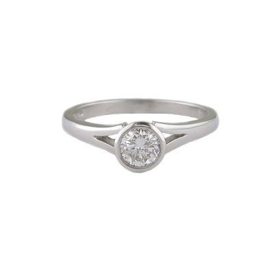 Diamond Rings Platinum Bezel set Solitaire Diamond Ring