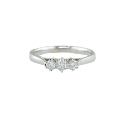 Diamond Rings 9ct White Gold Three Diamond Ring