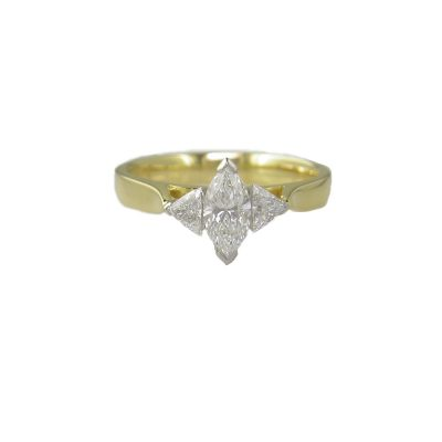 Diamond Rings 18ct. Yellow Gold Marquise and Trillion set Diamond Ring