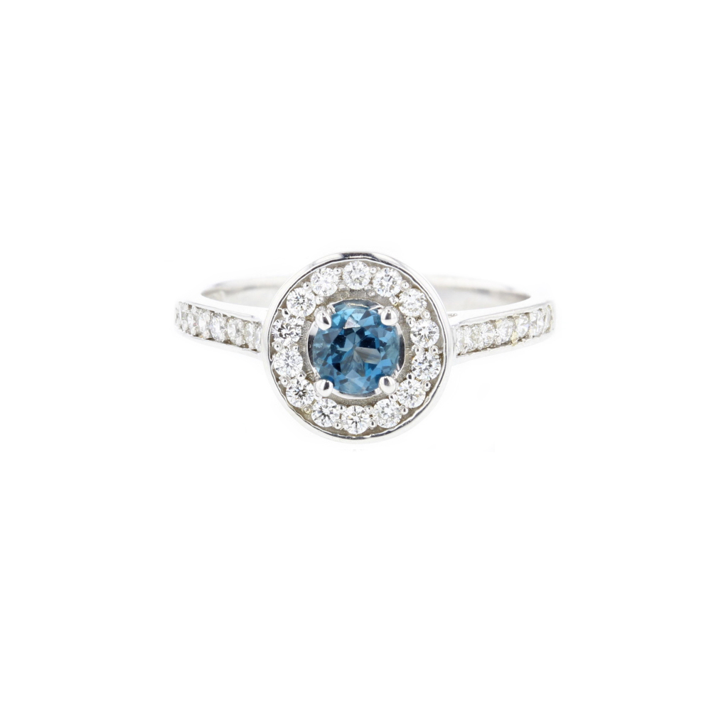9ct. White Gold with London Blue Topaz