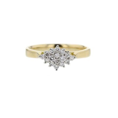 Diamond Rings 18ct. Yellow Gold Diamond Cluster with Platinum Setting