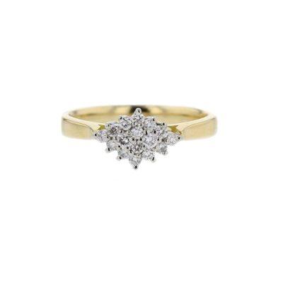 Diamond Rings 18ct. Yellow Gold Diamond Cluster with Platinum Setting