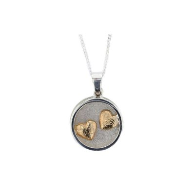 Jewellery Sterling Silver Circular Framed Pendant, Gold Plated Hearts