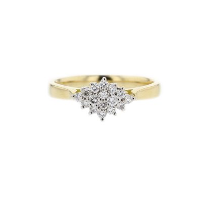 18ct. Yellow Gold Diamond Cluster with Platinum Setting