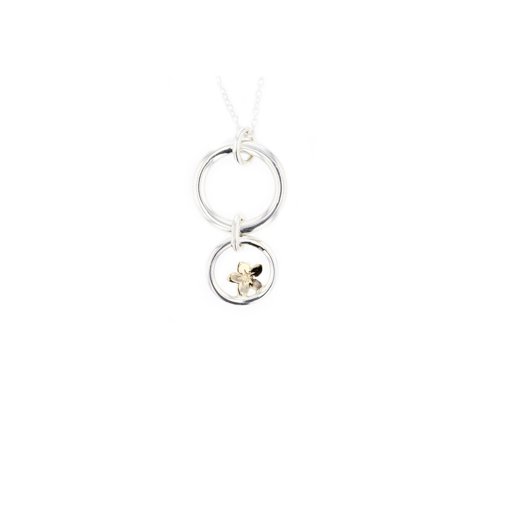 Love Circle Pendant with Yellow Gold Burren Flower