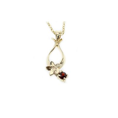 9ct. Gold Pendant, with Burren Flower & Claw Set Ruby