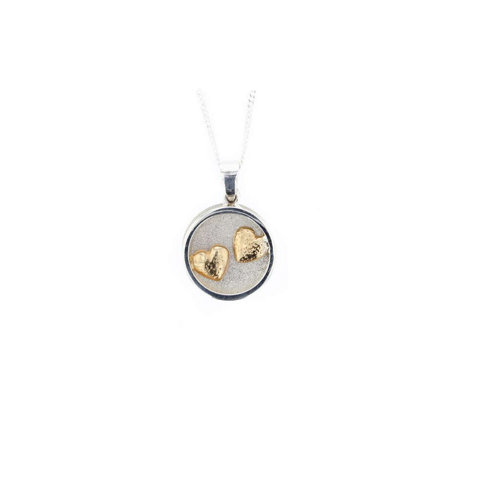Sterling Silver Circular Framed Pendant, Rose Gold Plated Hearts