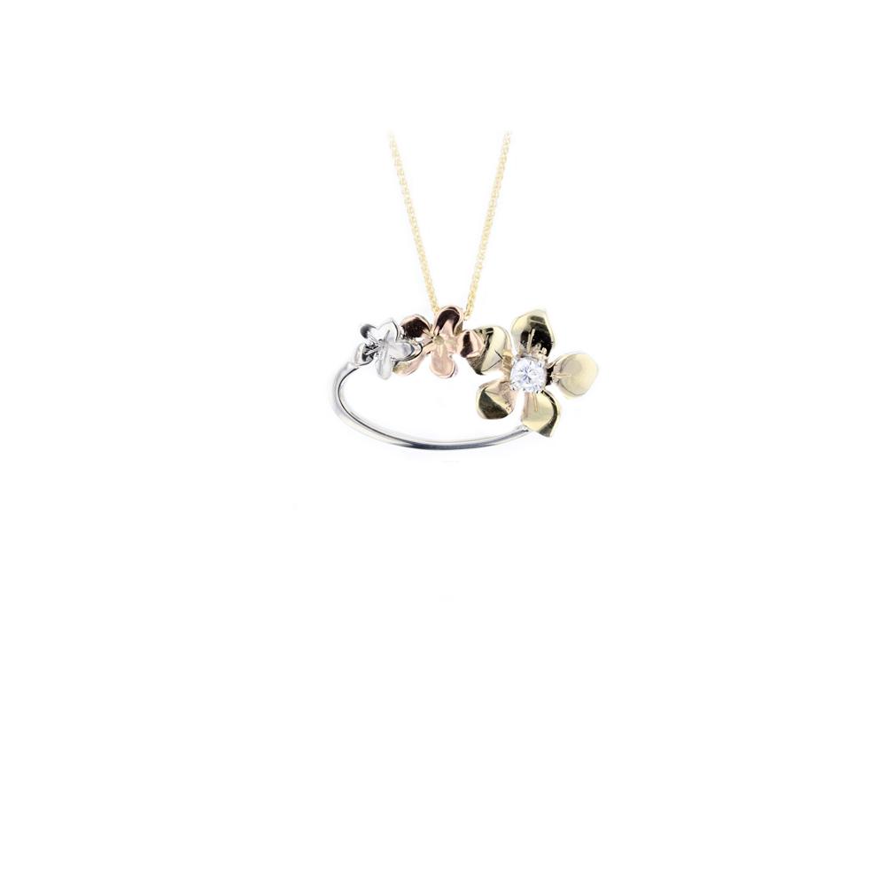 Yellow, White & Rose Gold, Burren Flower Pendant