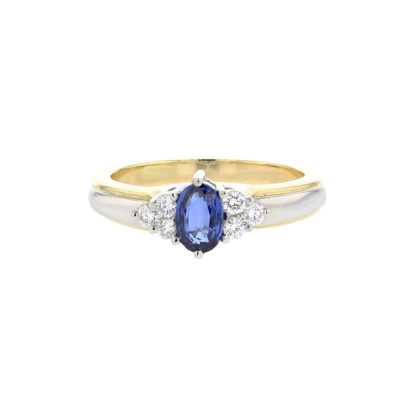 Diamond Rings 18ct. Yellow Gold and Platinum Sapphire Diamond Ring