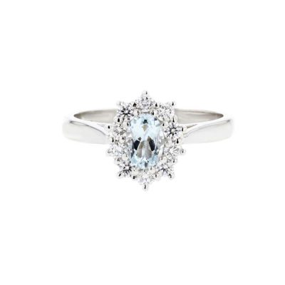 Diamond Rings Platinum Aquamarine Cluster