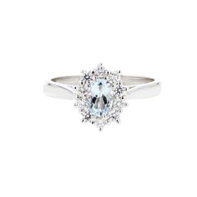 Diamond Rings Platinum Aquamarine Cluster