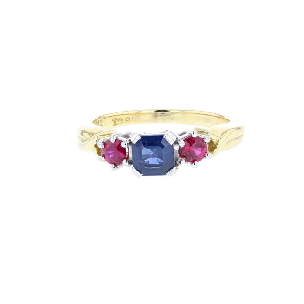 Sapphire & Ruby 18ct. Gold Ring