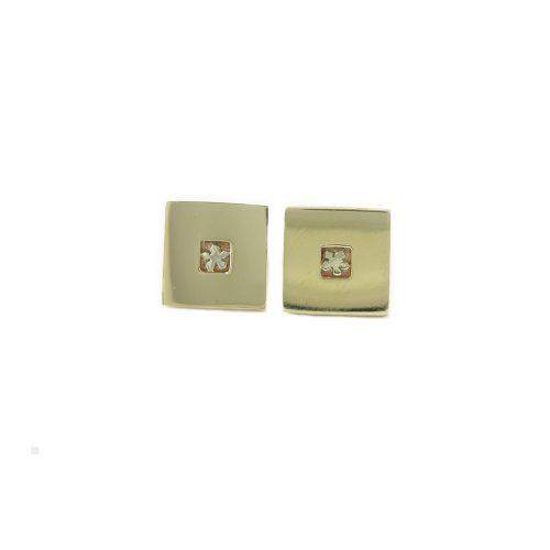 Burren Collection Square 9ct. Yellow Gold Burren Flower Earrings