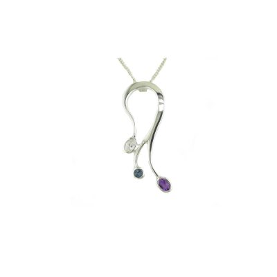 Jewellery Sterling Silver Pendant Set with 3 Stones CZ, Blue Topaz and Amethyst
