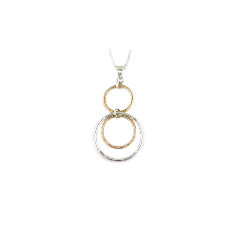 97489b260 Sterling Silver and Rose Gold Plated 3 Circle Pendant | Gleeson ...