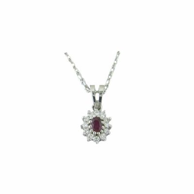 Gold Pendants 18ct. White Gold Cluster Ruby Pendant