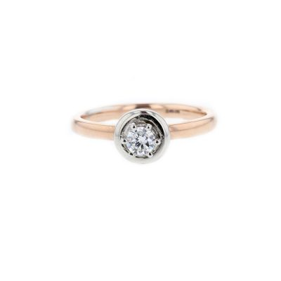 Diamond Rings 9ct. Red Gold Solitaire Ring