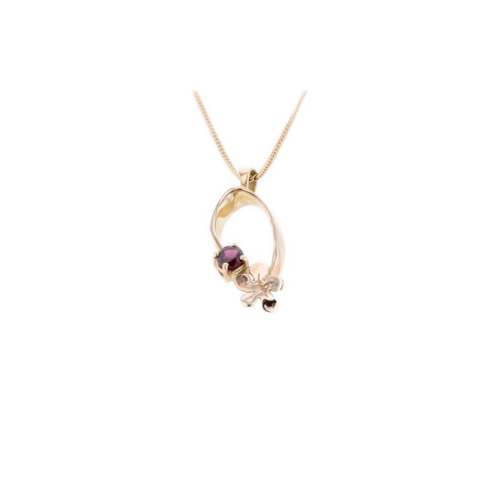 9ct. Red Gold Pendant with Red Gold Burren Flower