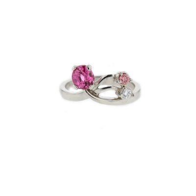 Dress Rings Platinum Ring set with Pink Spinel and Diamond