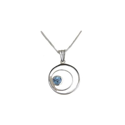 Jewellery Sterling Silver Circle of Life Pendant with Blue Topaz