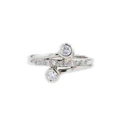 Diamond Rings Platinum Diamond Ring with Two Bezel Set Diamonds
