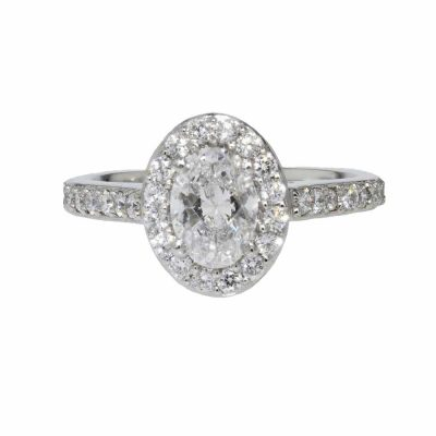 Platinum Oval Cluster Ring with Diamond set Shoulders