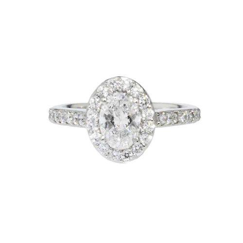 Diamond Rings Platinum Oval Diamond Cluster Ring