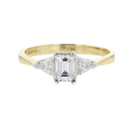 Diamond Rings 18ct. Yellow Gold Emerald Cut Diamond Ring