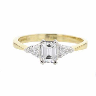 18ct. Yellow Gold Emerald Cut Diamond Ring