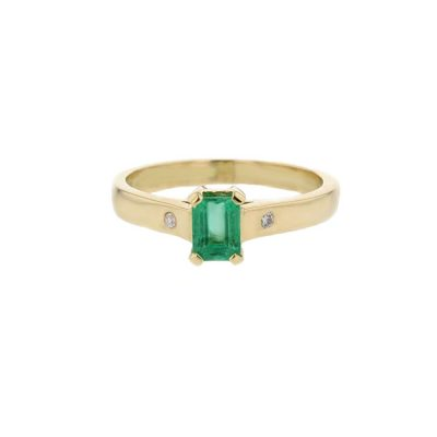Dress Rings 18ct. Yellow Gold Ring, Emerald Cut Emerald