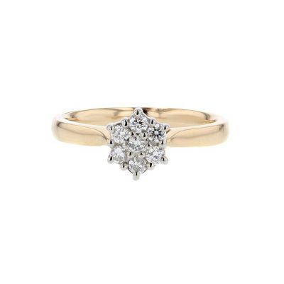Diamond Rings 18ct. Red Gold Ring with Diamond Cluster