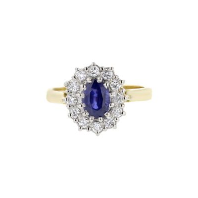 Diamond Rings 18ct. Yellow Gold Sapphire Diamond Ring