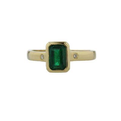 Dress Rings 18ct. Yellow Gold Ring, Emerald Cut Emerald