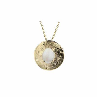 Gold Pendants Moon Stone Pendant, 9ct. Gold
