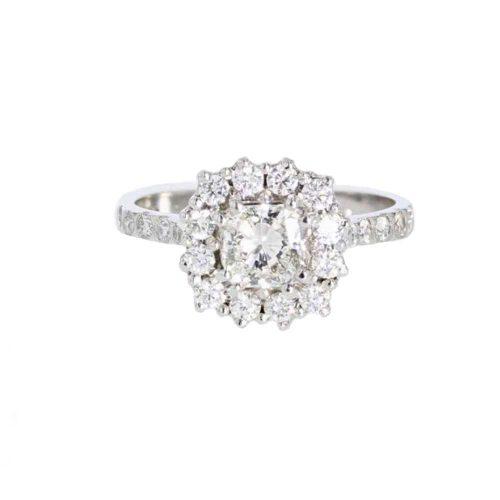 Diamond Rings Radial Cut Diamond Cluster Ring in 18ct. White Gold