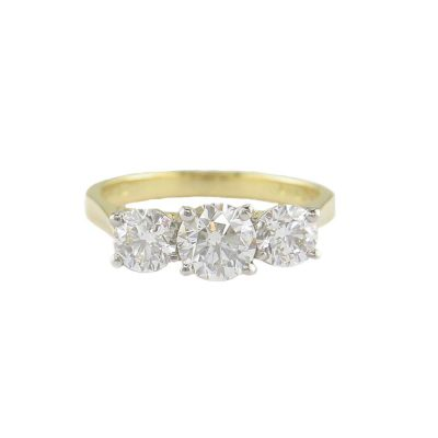Diamond Rings 18ct. Yellow Gold Ring, Platinum Setting 3 Diamonds