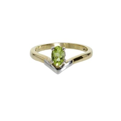 Diamond Rings Oval Peridot, 18ct. Yellow Gold and Platinum Ring