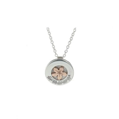 Burren Carousel Sterling Silver Pendant with Ogham Writing and Red Gold Burren Flower
