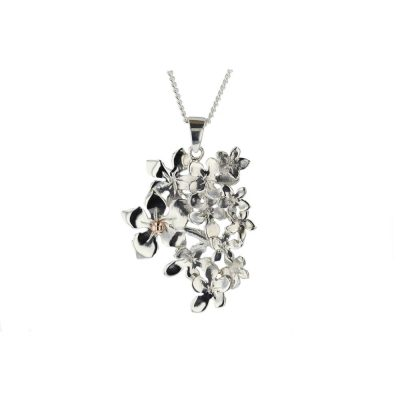 Burren Collection Ster;ing Silver Burren Cluster of Flowers Pendant