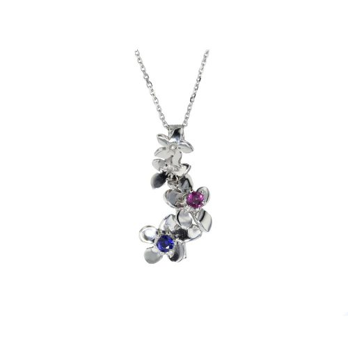 Burren Collection 9ct. White Gold Pendant with Rhodolite and Sapphire
