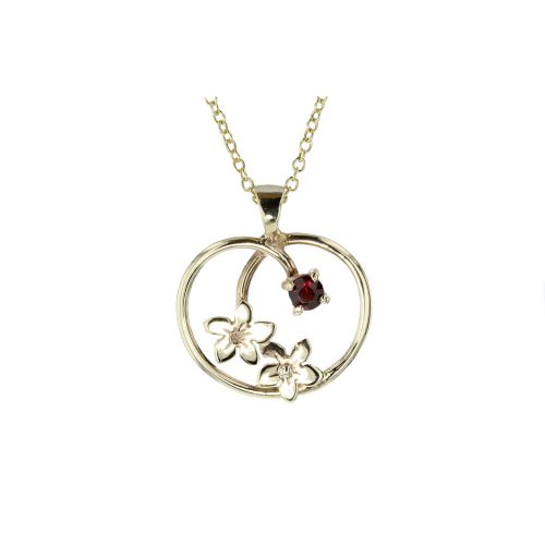 Burren Collection 9ct. Gold Apple Shaped Pendant with Burren Flowers