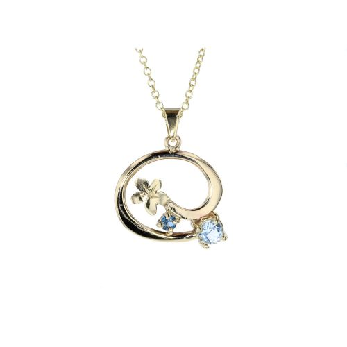 Burren Collection Sky Blue Topaz & London Blue Topaz 9ct. Gold Burren Pendant