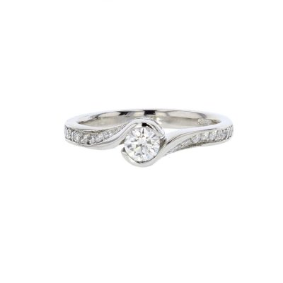 Diamond Rings Platinum Ring with Diamond Encrusted Shoulders