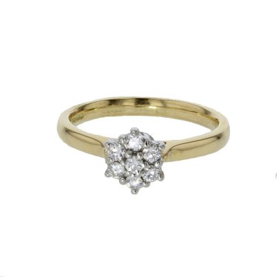 18ct. Yellow Gold Ring with Diamond Cluster