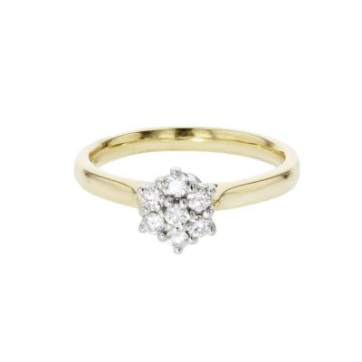 Diamond Rings 18ct. Yellow Gold Ring with Diamond Cluster